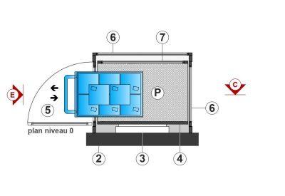 SAFtech . Elévateur monte-charge NIV-MCI . Plan niv0