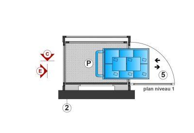 SAFtech . Elévateur monte-charge NIV-MCI . Plan niv1