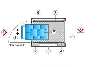 SAFtech . Elévateur monte-charge NIV-MCI P . Plan niveau 0