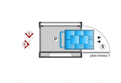 SAFtech . Elévateur monte-charge NIV-MCI P . Plan niveau 1