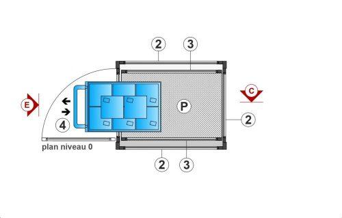 SAFtech . Elévateur monte-charge NIV-MCX - plan niv 0